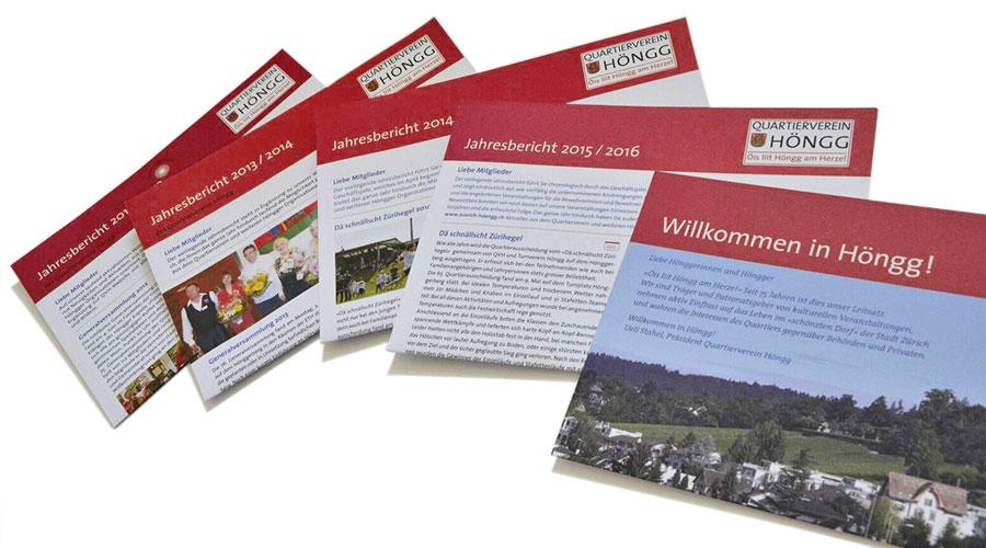 Jahresberichte des Quartiervereins Höngg aufgefächert