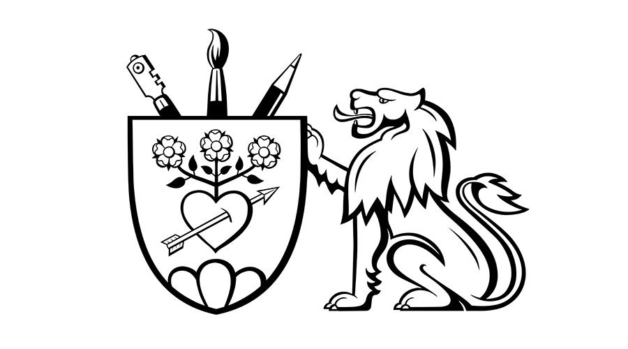 Familienwappen der Glasmalerei Christen in Wallis. Das Wappen zeigt die drei Werkzeuge der Glasmaler. Auch zeigt es die Herkunft aus Nidwalden. Der Firmengründer wählte den Löwen als Schildhalter.