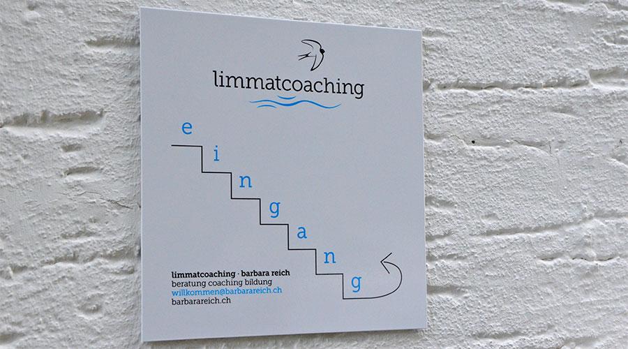 barbarareich.ch Hinweistafel für limmatcoaching von developdesign